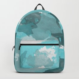 Teal / Turquoise Splatters Watercolor Camo Pattern Backpack