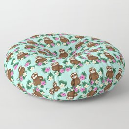Sloth and Hibiscus Floor Pillow