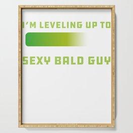 Mens Sexy Bald Guy design Bald Hair design Slogan Serving Tray