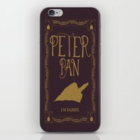 book cover iPhone & iPod Skins featuring Peter Pan Book Cover by Abbie Imagine