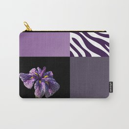 Purple Iris Flower and Zebra Stripes Patch Work Carry-All Pouch