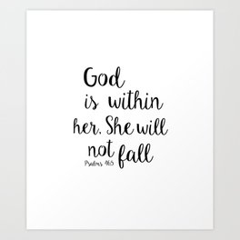 God is within her, She will not fall. Psalm Kunstdrucke