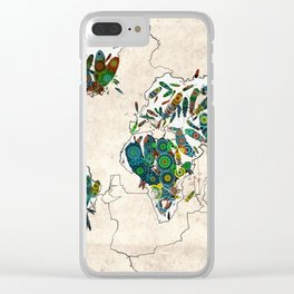 world map feathers mandala 3 Clear iPhone Case