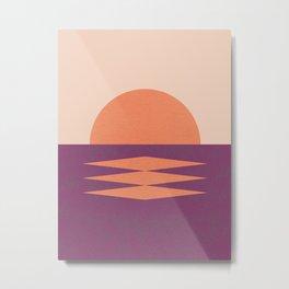 Sunset Geometric Pink Midcentury style Metal Print