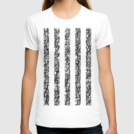 Scribble Bars - Abstract, stripy, stripey, black ink scribbles pattern, black and white T-shirt