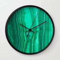 malachite Wall Clocks featuring Malachite Stone by BrooklynThread