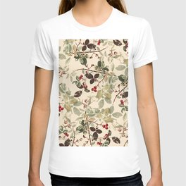 Vintage ivory red green forest berries floral T-shirt