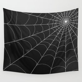 Spiderweb on Black Wall Tapestry