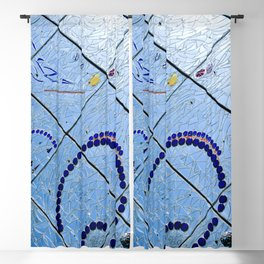 Abstract Blue Baltimore Geometric Mirror Mosaic Blackout Curtain