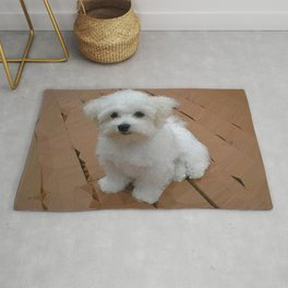 Maltese Puppy Low Poly Geometric Triangles Rug