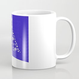 Christmas Tree Of Snowflakes and Stars On Dark Blue Background Coffee Mug