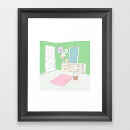Green Bedroom view sitting on the bed  Framed Art Print