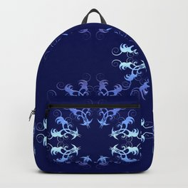 baroque style circles blue illustration. Backpack