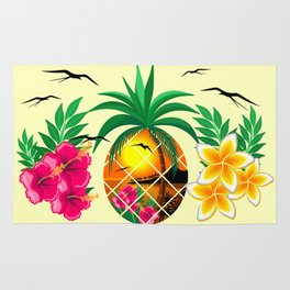 Pineapple Tropical Sunset, Palm Tree and Flowers Rug