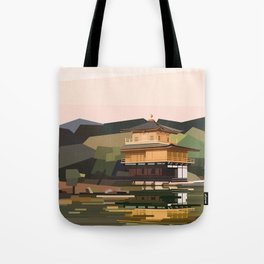 Geometric Kinkakuji, Golden Pavilion Kyoto Japan Tote Bag
