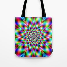 Neon Flower in Green Red and Blue Tote Bag