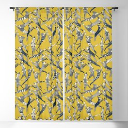 dog party indigo yellow Blackout Curtain