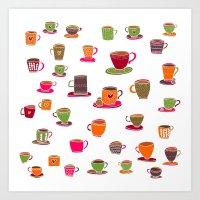 Coffee Cup Green & Orange Art Print