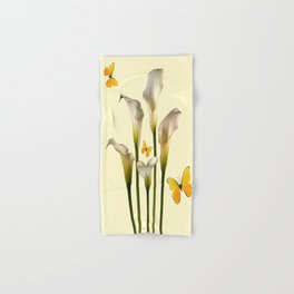 Ivory Calla Lilies Yellow Butterflies Hand & Bath Towel