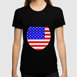 Stars And Stripes Flag In An Interstate Sign T-shirt