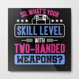 Gamer Gaming Skill Weapon Motif Metal Print