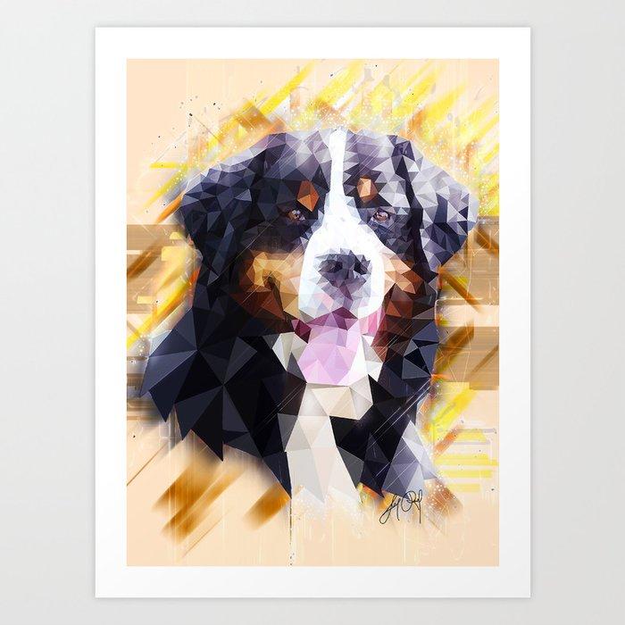 Bernese Mountain Dog Low Poly Art Print