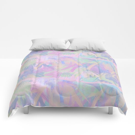 Painterly Soft Floral Waves Abstract Comforters