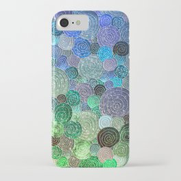 Abstract blue & green glamour glitter circles and polka dots for ladies iPhone Case
