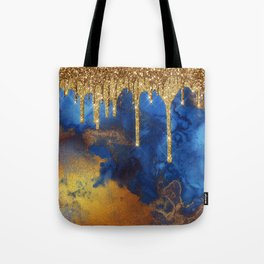 Gold Rain on Indigo Marble Tote Bag