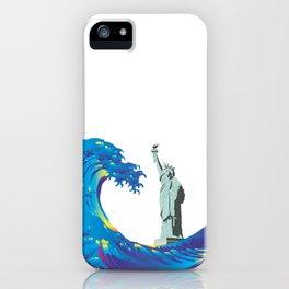 Hokusai Rainbow & the Statue of Liberty  iPhone Case