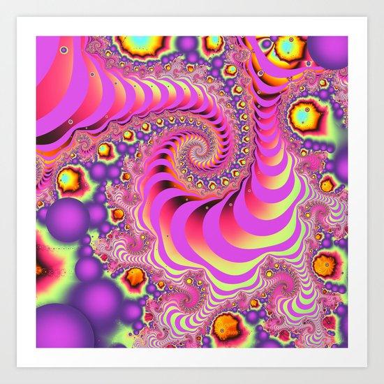 Colourful spiral motion, fractal abstract art Art Print