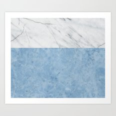 Porcelain blue and white marble Art Print