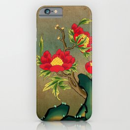 Minhwa: Peony on the Rock E Type (Korean traditional/folk art) iPhone Case