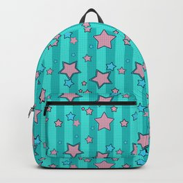 Pink star on turquoise background Backpack