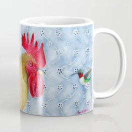 Humm and Peck Rooster Hummingbird Painting Coffee Mug