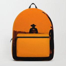Wild West sunset - Cowboy Men horse riding at sunset Vintage west vintage illustration Backpack