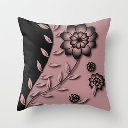 Bridal Rose Floral Abstract Throw Pillow