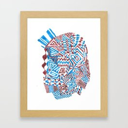 Face, Blue/Red Abstract (Ink Drawing) Framed Art Print