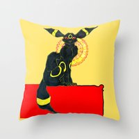 umbreon Throw Pillows featuring umbreon noir by HiddenStash Art