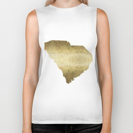 south carolina gold foil state map Biker Tank