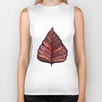 decal Biker Tanks featuring Modern leaf art | green leaves wall decal | botanical leaf decor | botanical leaves | leaf & plant by WestridgeART