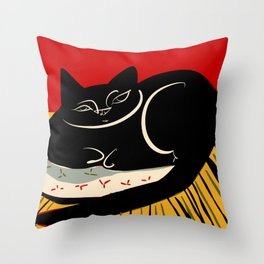 Black cat on a striped cushion Throw Pillow