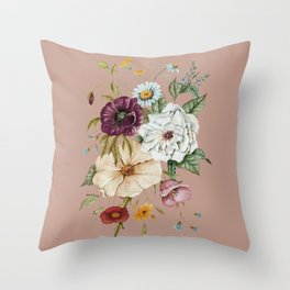 Colorful Wildflower Bouquet on Pink Throw Pillow