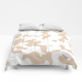 Large Spots - White and Pastel Brown Comforters