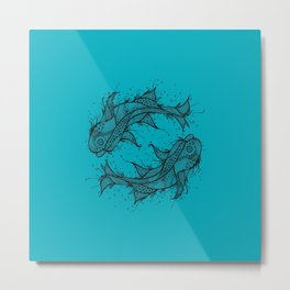 Turquoise Zen Fish Circle Metal Print
