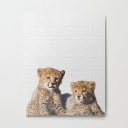 Twin cougar art, twin baby jaguar art, puma nursery art, loving animal Metal Print
