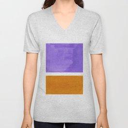 Minimalist Abstract Rothko Mid Century Modern Color Field Lavender Yellow Ochre Unisex V-Neck