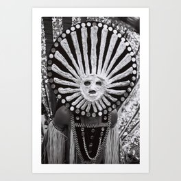 carnival mask costume street party dancer black and white photograph Art Print