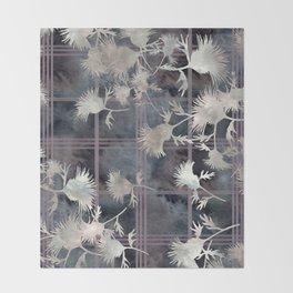 Thistle Flower Felted Plaid Pattern Throw Blanket