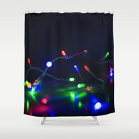 the lights Shower Curtains featuring Lights by tea and tiffin